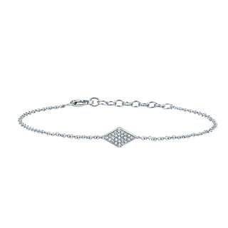 White gold bracelet with pave diamond accent