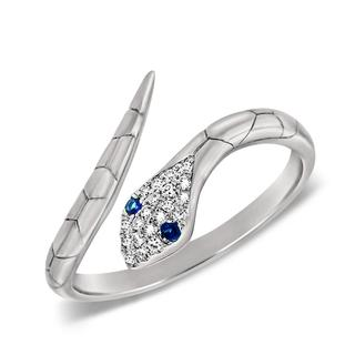 Diamond and sapphire snake ring