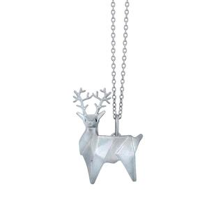 Sterling silver origami reindeer pendant
