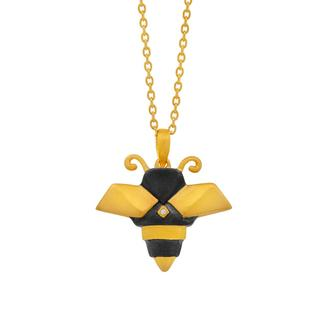 Sterling silver origami bee pendant