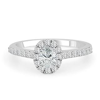 White gold engagement ring with an oval center