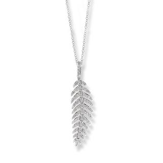White gold diamond feather pendant