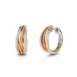 Tricolor diamond hoop earrings