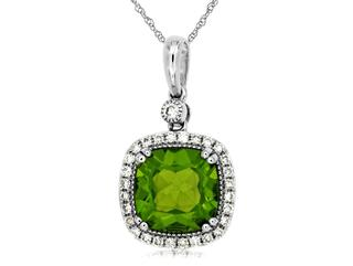 Genuine peridot and diamond pendant in white gold