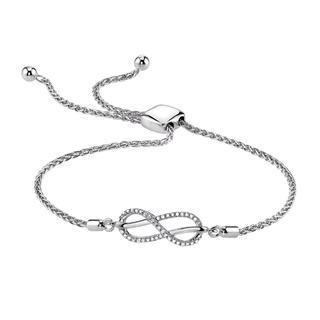 Sterling silver infinity bolo bracelet