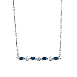 White gold diamond and sapphire necklace