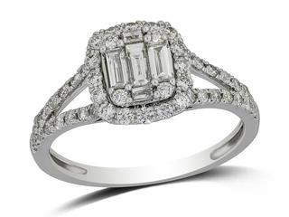 White gold diamond engagement ring with baguettes and rounds