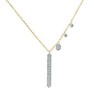 Rose gold diamond dangle necklace