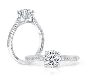 White gold semi engagement ring