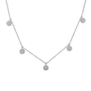 White gold diamond pave circle necklace