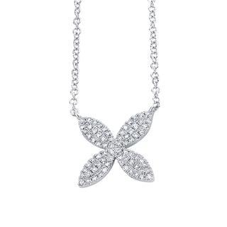 White gold diamond flower pendant