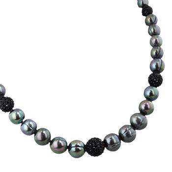 Black cultured pearl necklace with black crystal accents