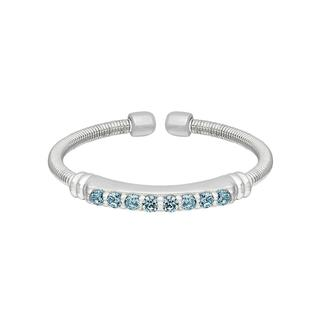 Sterling silver cable cuff ring with simulated aquamarine
