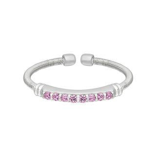 Sterling silver cable cuff ring with simulated pink sapphire
