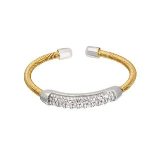 Sterling silver cable cuff ring with a gold finish and simulated diamonds