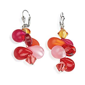 Sterling silver earrings with red and fuschia balloons