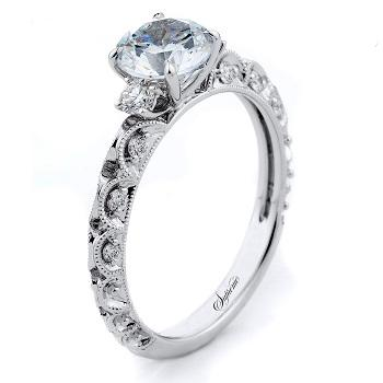 White gold semi mount engagement ring