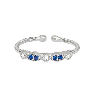 Sterling silver cable cuff ring with simulated sapphires and simulated diamonds