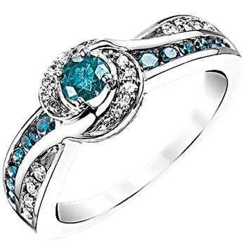 White gold white and enhanced blue diamond ring