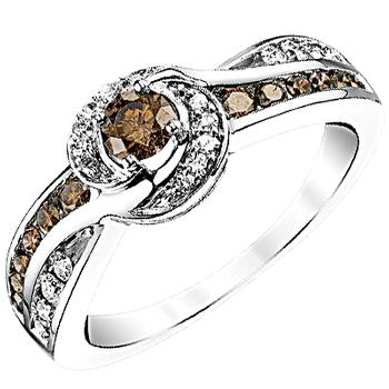 White gold white and natural brown diamond ring