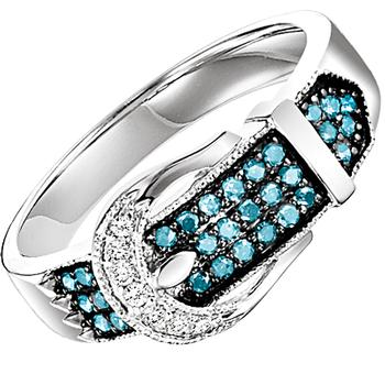 Sterling silver enhanced blue diamond ring