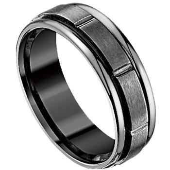 Men's black titanium wedding band