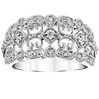 Sterling silver vintage look diamond ring