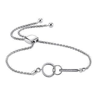 Sterling silver bolo bracelet with diamonds