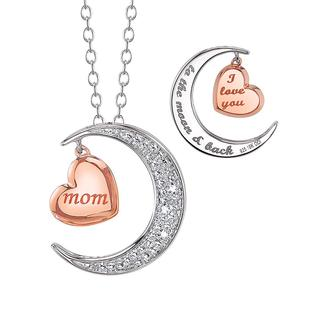 Mom sterling silver moon and heart pendant
