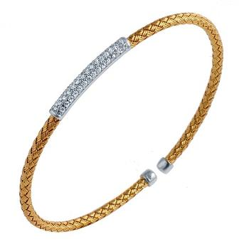 Sterling silver woven cuff bracelet with 18k yellow gold finish