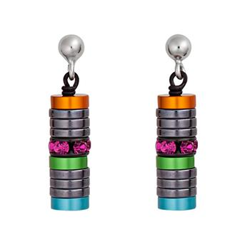 CDL earrings with muticolored hematite rings