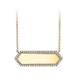 Diamond yellow gold bar necklace
