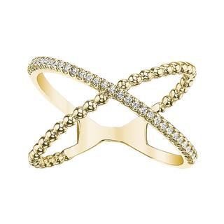 Yellow gold diamond X ring