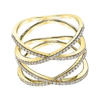 Yellow gold  diamond freeform ring