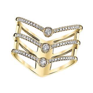 Yellow gold diamond freeform ring
