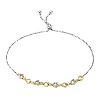 Diamond sterling silver bolo bracelet