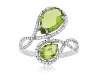 Peridot and diamond fashion ring