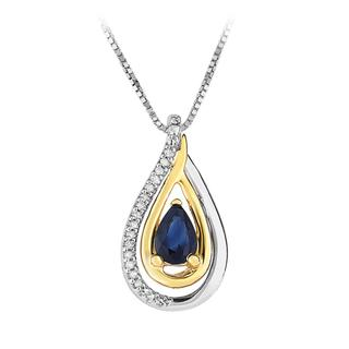 Sterling silver pear shaped sapphire pendant