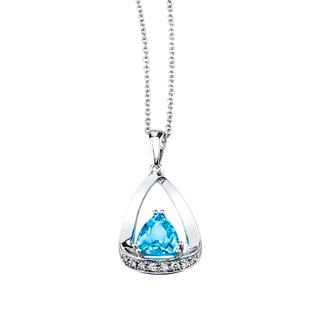 White gold genuine blue topaz and diamond pendant