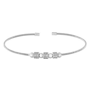 Sterling silver cable cuff bracelet with simulated diamond beads
