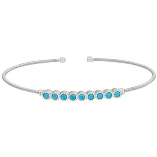 Sterling silver cable cuff bracelet with simulated turquoise