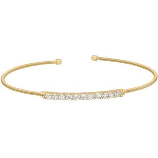 Sterling silver cable cuff bracelet with a gold finish and simulated diamonds