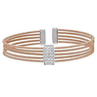 Sterling silver cable cuff bracelet in rose gold with simulated diamonds