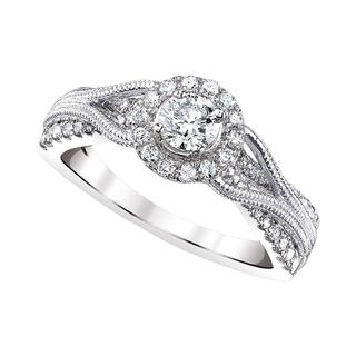 White gold colorless diamond engagement ring