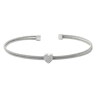 Sterling silver cable cuff bracelet with simulated diamonds