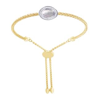 Sterling silver bracelet with yellow gold finish and mother of pearl
