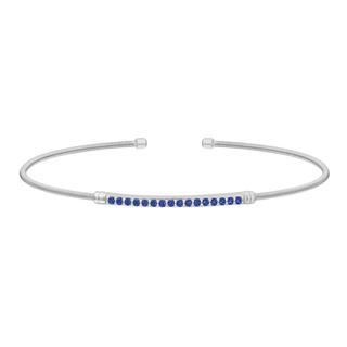 Sterling silver cable cuff bracelet with simulated blue sapphires