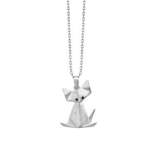 Sterling silver origami cat pendant