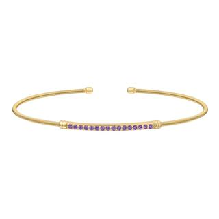 Sterling silver cable cuff bracelet with a gold finish and simulated amethyst