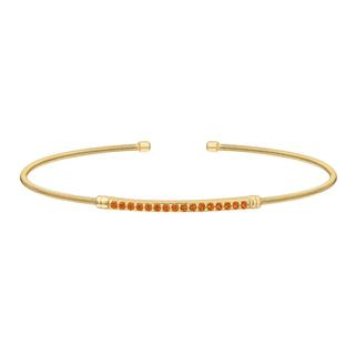 Sterling silver cable cuff bracelet in rose gold with simulated citrine